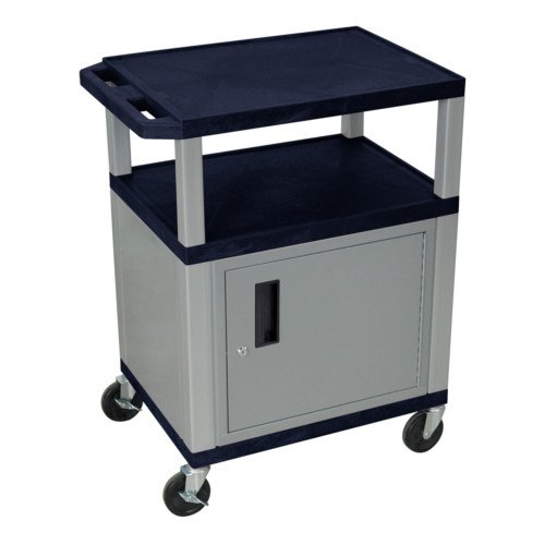 "H. Wilson Navy Blue 34"" High Tuffy Utility A/V Cart with Cabinet (3-Shelf Nickel Legs) (WT34ZC4E-N), H. Wilson brand Image 1"