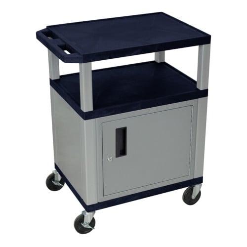 "H. Wilson Navy Blue 34"" High Tuffy Utility A/V Cart with Cabinet (3-Shelf Nickel Legs) (WT34ZC4E-N) Image 1"