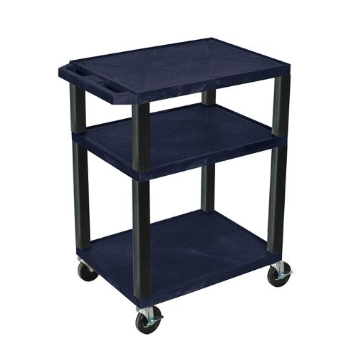 "H. Wilson Navy Blue 34"" High Tuffy Utility A/V Cart (3-Shelf Black Legs) (WT34ZE-B), Boards Image 1"