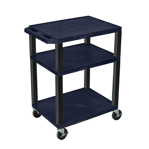 "H. Wilson Navy Blue 34"" High Tuffy Utility A/V Cart (3-Shelf Black Legs) (WT34ZE-B) - $128.13 Image 1"