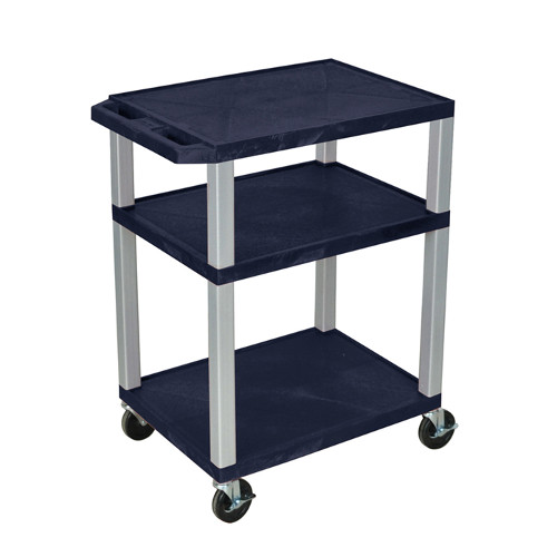 "H. Wilson Navy Blue 34"" High Tuffy Utility A/V Cart (3-Shelf Nickel Legs) (WT34ZE-N), Boards Image 1"