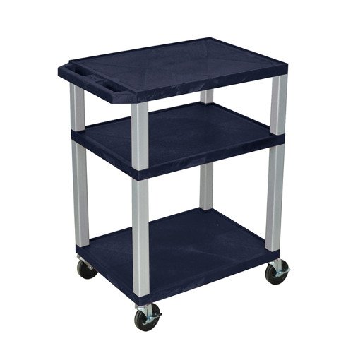 "H. Wilson Navy Blue 34"" High Tuffy Utility A/V Cart (3-Shelf Nickel Legs) (WT34ZE-N) - $128.13 Image 1"