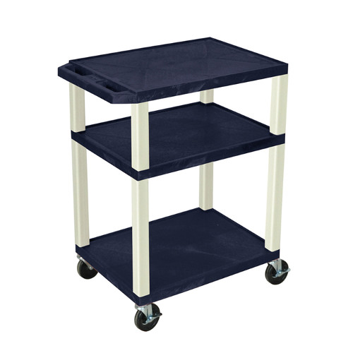 "H. Wilson Navy Blue 34"" High Tuffy Utility A/V Cart (3-Shelf Putty Legs) (WT34ZE), Boards Image 1"