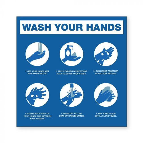 "Hand Washing Steps - 8"" x 8"" Acrylic Sign (97PPESTEPS), Work from Home Products Image 1"