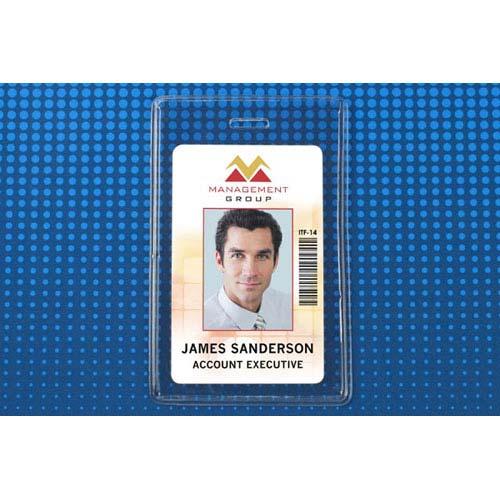 "Heavy-Duty Clear Vertical Proximity Card Holder (2-5/8"" x 3-5/8"") - 100pk (MYBP504EST) Image 1"