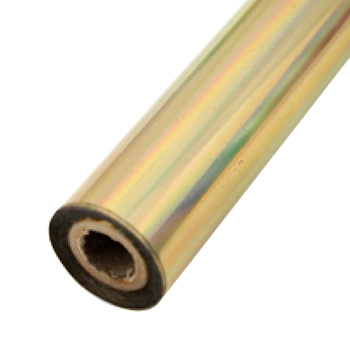 "4"" x 200' Holographic Rainbow Gold Hot Stamp Foil Roll (1/2"" Core) (MYBF4014X200F), Brands Image 1"