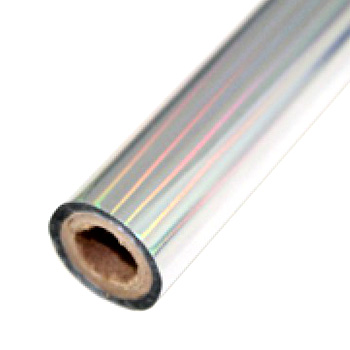 "3.5"" x 200' Holographic Rainbow Silver Hot Stamp Foil Roll (1/2"" Core) (MYBF4023.5X200F) Image 1"