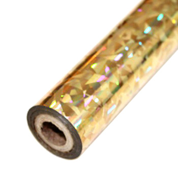 "3.5"" x 200' Holographic Splash Gold Hot Stamp Foil Roll (1/2"" Core) (MYBF3023.5X200F), Brands Image 1"