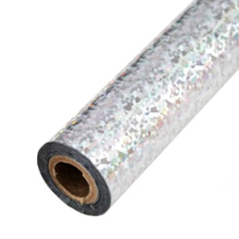 "3"" x 200' Holographic Splash Silver Hot Stamp Foil Roll (1/2"" Core) (MYBF3013X200F), Brands Image 1"