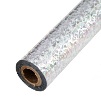 "3.5"" x 200' Holographic Splash Silver Hot Stamp Foil Roll (1/2"" Core) (MYBF3013.5X200F), Brands Image 1"