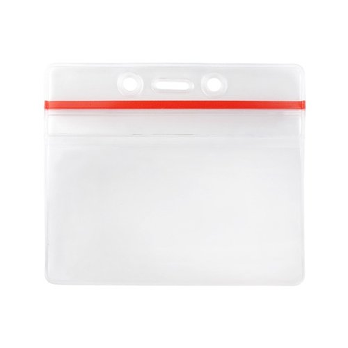 "3.63"" x 2.50"" Clear Vinyl Horizontal Anti-Print Transfer Badge Holder with Zipper Closure - 100pk (506-ZHOSJ) Image 1"