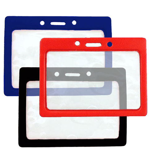 "Horizontal Vinyl Color-Frame Badge Holder (3-1/2"" x 2-1/8"") - 100pk (MYBP407T), Id Supplies Image 1"