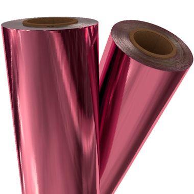 "Hot Pink Metallic 12"" x 500' Toner Fusing/Sleeking Foil - 3"" Core (PNK-50-3-12) Image 1"
