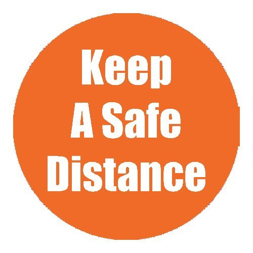 "Flipside ""Keep a Safe Distance"" Orange 11"" Round Non-Slip Floor Stickers - 5pk (FS-97076), Flipside brand Image 1"