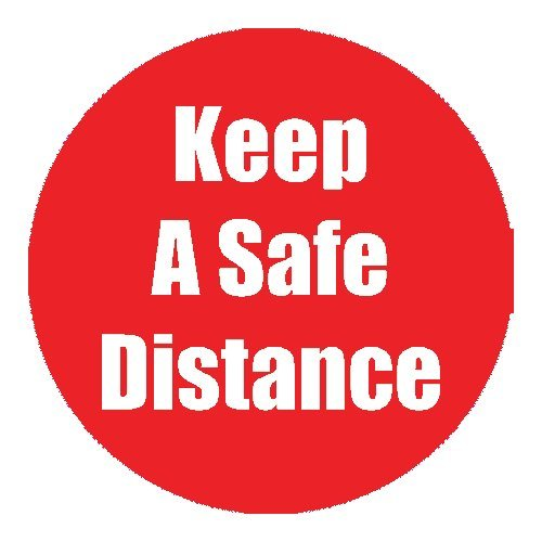 "Flipside ""Keep a Safe Distance"" Red 11"" Round Non-Slip Floor Stickers - 5pk (FS-97072), Flipside brand Image 1"