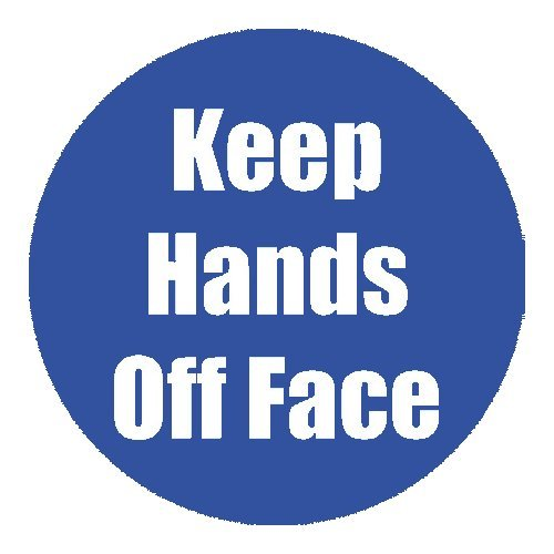 "Flipside ""Keep Hands Off Face"" Blue 11"" Round Non-Slip Floor Stickers - 5pk (FS-97080) Image 1"