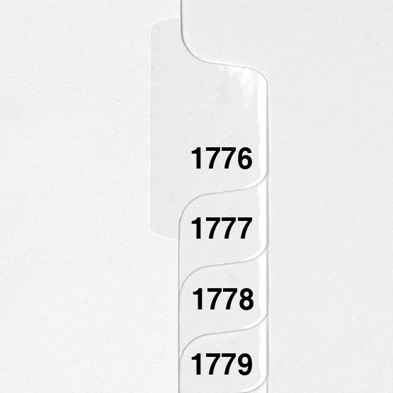 1776-1800 - Avery Style Collated Numbers Letter Size Side Tab Legal Indexes - 1 Set (HCM00171) Image 1