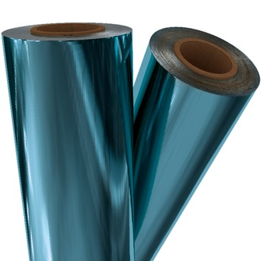 "Light Blue Metallic 12"" x 500' Toner Fusing/Sleeking Foil - 3"" Core (BLU-20-3-12) Image 1"