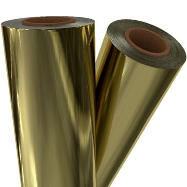 "Light Gold Metallic 12"" x 500' Toner Fusing/Sleeking Foil - 3"" Core (GLD-05-3-12) Image 1"
