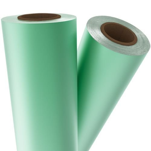 "Light Green Matte Metallic 21"" x 500' Toner Fusing/Sleeking Foil - 3"" Core (GRN-51-3-21) Image 1"