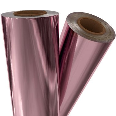 "Light Pink Metallic 12"" x 500' Toner Fusing/Sleeking Foil - 3"" Core (PNK-30-3-12) Image 1"