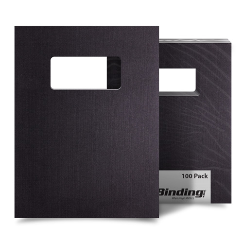 "Black Linen 9"" x 11"" Index Allowance Covers with Windows - 100 Sets (MYLC9X11BKW) Image 1"
