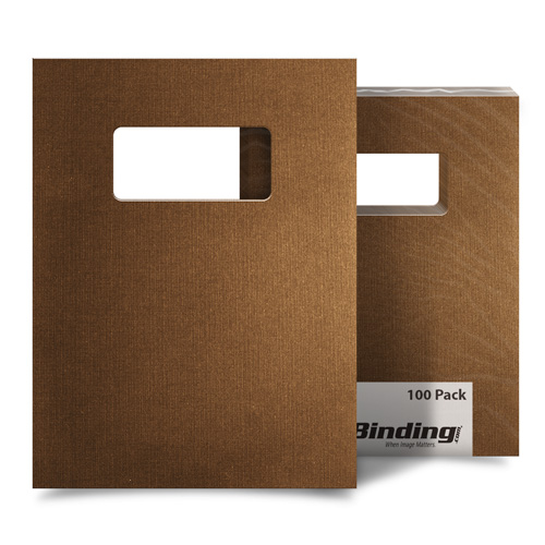 "Brown Linen 8.5"" x 11"" Covers With Windows - 100 Sets (MYLC8.5X11BRW)"