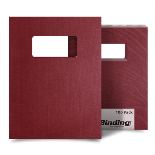 "Maroon Linen 9"" x 11"" Index Allowance Covers with Windows - 100 Sets (MYLC9X11MRW) Image 1"