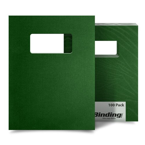 "Dark Green Linen 9"" x 11"" Index Allowance Covers with Windows - 100 Sets (MYLC9X11GRW) Image 1"
