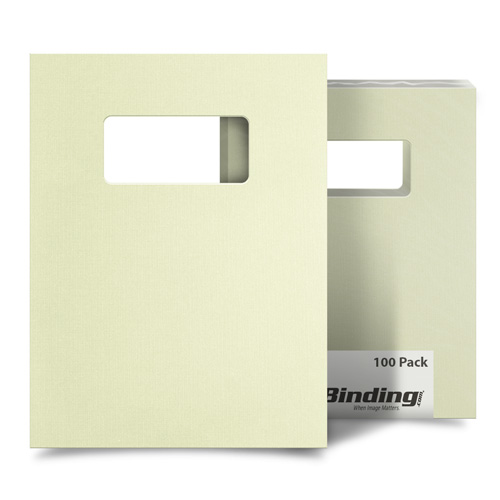"Ivory Linen 9"" x 11"" Index Allowance Covers with Windows - 100 Sets (MYLC9X11IVW) Image 1"