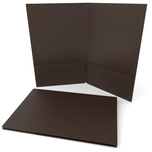 Brown Linen Customizable Legal Size Pocket Folders - 250pk (MYLCPFLGBW) - $488.69 Image 1