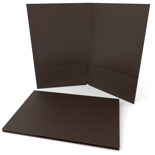 Brown Linen Customizable Legal Size Pocket Folders - 250pk (MYLCPFLGBW) Image 1