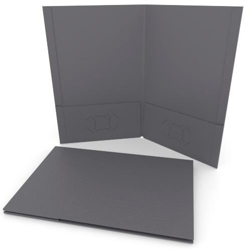 Dark Gray Linen Customizable Legal Size Pocket Folders - 250pk (MYLCPFLGDG) Image 1