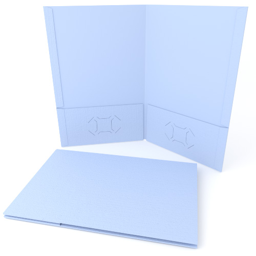 Light Blue Linen Customizable Legal Size Pocket Folders - 250pk (MYLCPFLGLB) Image 1
