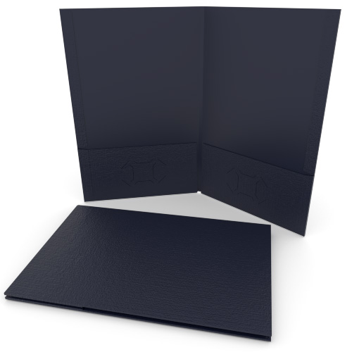 Navy Blue Linen Customizable Legal Size Pocket Folders - 250pk (MYLCPFLGNB) Image 1