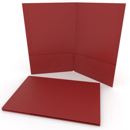 Red Linen Customizable Legal Size Pocket Folders - 250pk (MYLCPFLGRD) Image 1