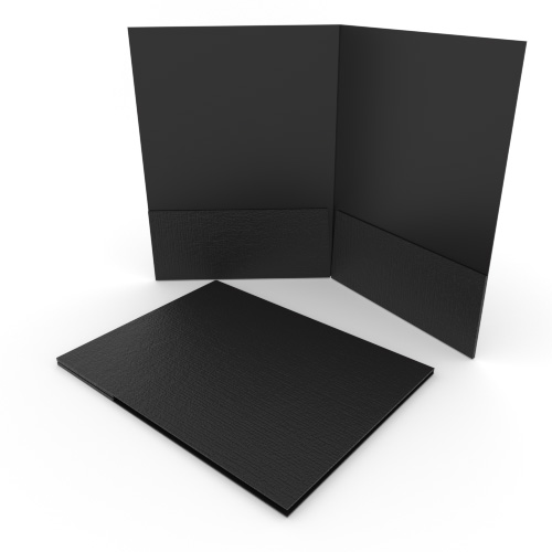 Black Linen Customizable Letter Size Pocket Folders - 250pk (MYLCPFLRBK) Image 1