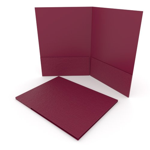 Burgundy Linen Customizable Letter Size Pocket Folders - 250pk (MYLCPFLRBY) Image 1