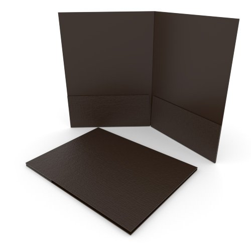 Brown Linen Customizable Letter Size Pocket Folders - 250pk (MYLCPFLRBW) Image 1