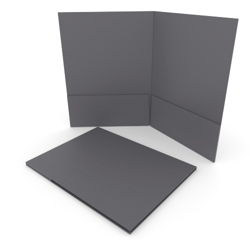 Dark Gray Linen Customizable Letter Size Pocket Folders - 250pk (MYLCPFLRDG) Image 1