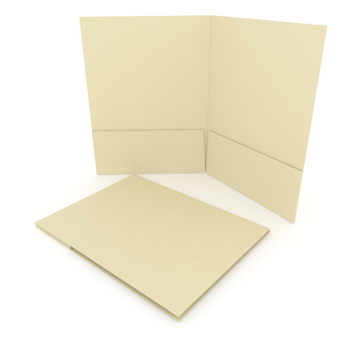 Ivory Linen Customizable Letter Size Pocket Folders - 250pk (MYLCPFLRIV) Image 1