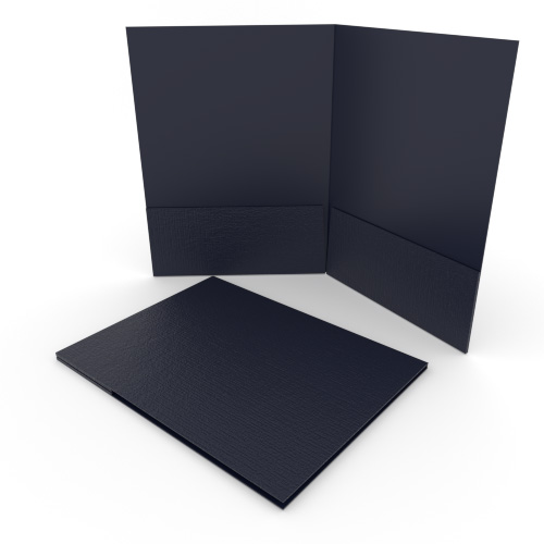Navy Blue Linen Customizable Letter Size Pocket Folders - 250pk (MYLCPFLRNB) Image 1