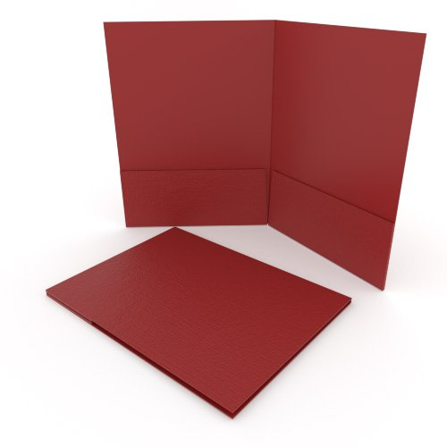 Red Linen Customizable Letter Size Pocket Folders - 250pk (MYLCPFLRRD) Image 1