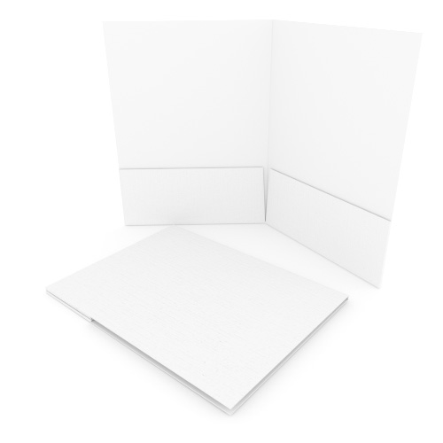 White Linen Customizable Letter Size Pocket Folders - 250pk (MYLCPFLRWH) Image 1