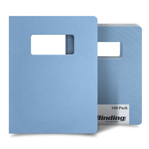 "Light Blue Linen 8.75"" x 11.25"" Covers With Windows - 100 Sets (MYLC8.75X11.25LBLW) Image 1"