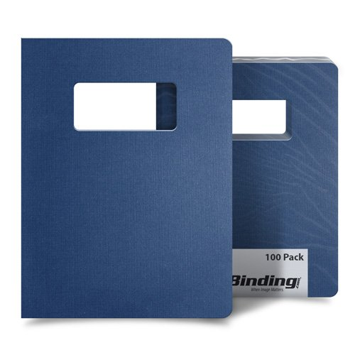 "Navy Blue Linen 8.75"" x 11.25"" Covers With Windows - 100 Sets (MYLC8.75X11.25NVW) Image 1"
