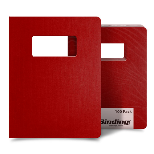 "Red Linen 8.75"" x 11.25"" Covers With Windows - 100 Sets (MYLC8.75X11.25RDW) Image 1"
