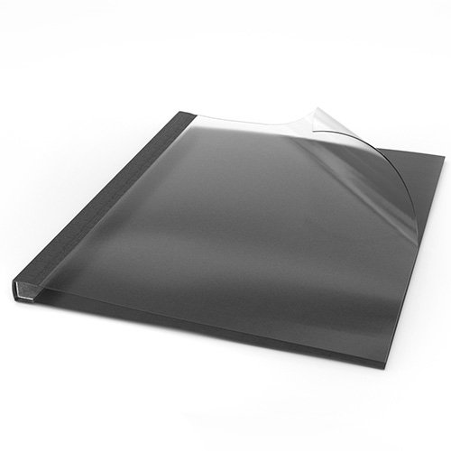 "ChannelBind Clear Front 8.5"" x 11"" Black Linen Soft Covers (Size AA) - 50pk (CHB-59105), Binding Supplies Image 1"