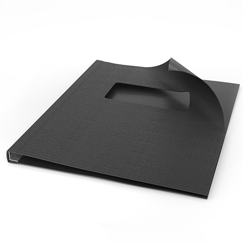 "ChannelBind Black 8.5"" x 11"" Linen Soft Covers with Window (Size AA) - 50pk (CHB-54105) Image 1"