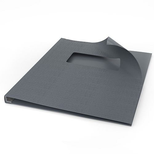 """ChannelBind Gray 8.5"""" x 11"""" Linen Soft Covers with Window (Size A) - 25pk (CHB-24114) Image 1"""